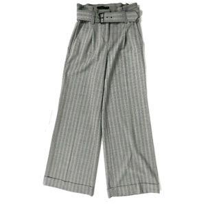 Express pinstripe wide leg belted trouser pants